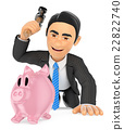 3D Businessman breaking a piggy bank. Spend saving 22822740
