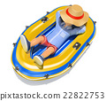 3D Man in shorts sleeping on an inflatable boat 22822753