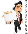 3D Call center employee with a blank card 22822758