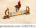 Equitation. show jumping horse and rider over jump 22825911