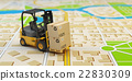 Forklift with cardboard boxes on the city map.  22830309