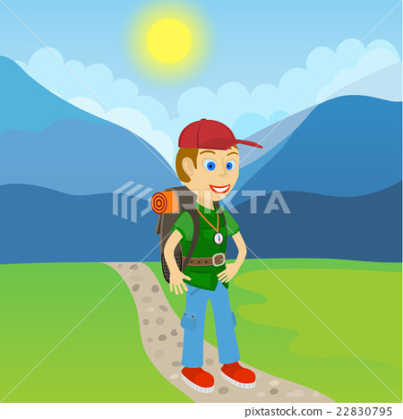 Young man tourist with backpack 22830795