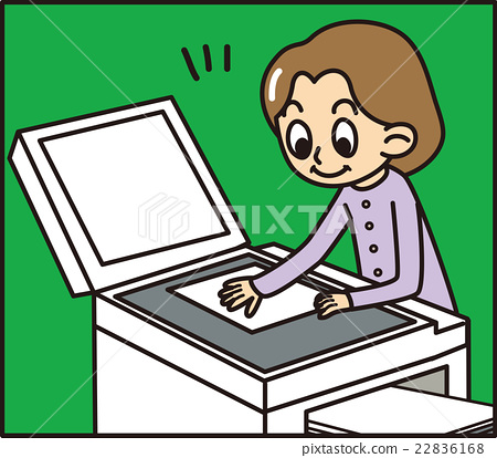 Vector Art - Employee at the copy machine. EPS clipart gg59412463 - GoGraph