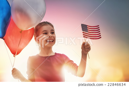Stock Photo: Patriotic holiday and happy kid