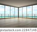 Interior of empty room with sea view 3D rendering 22847146