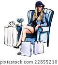 Woman having tea after shopping 22855210