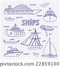 Ships on a notebook sheet 22859100