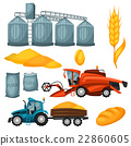 Agricultural set of harvesting items. Combine 22860605