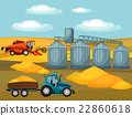 Harvesting grain. Combine harvester, tractor and 22860618