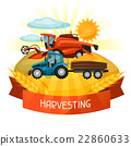 Combine harvester and tractor on wheat field 22860633