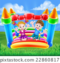 Cartoon Kids on Bouncy Castle 22860817