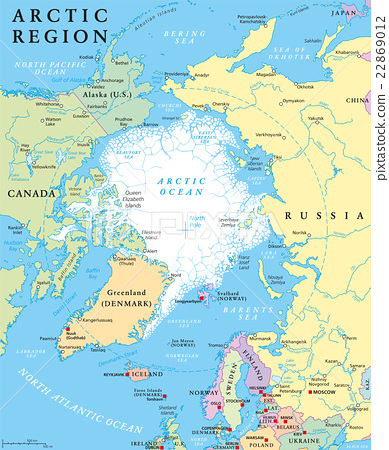 Arctic region political map with countries, capitals, national ...