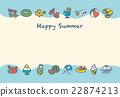 夏季賀卡 明信片模板 矢量 22874213