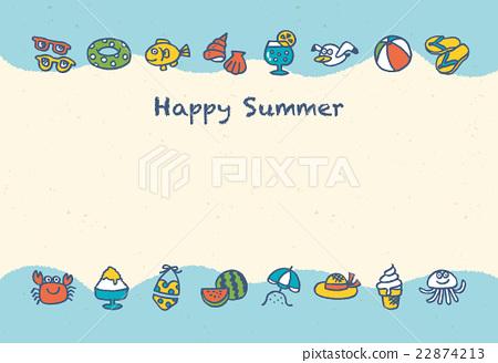 summer greeting card postcard template vector stock illustration