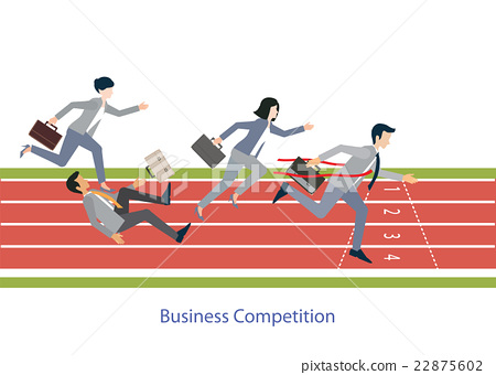 Business people running on red rubber track. 22875602