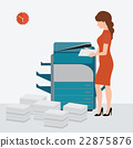 Business woman using copy print machine. 22875876