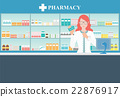Female pharmacist at the counter in a pharmacy. 22876917