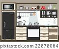 Interior kitchen with kitchen shelves. 22878064
