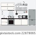 Interior kitchen with kitchen shelves 22878065
