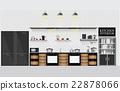 Interior kitchen with kitchen shelves 22878066