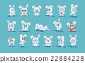 isolated Emoji character cartoon White leveret 22884228