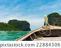 In Front View of Long tail boat travel 22884306
