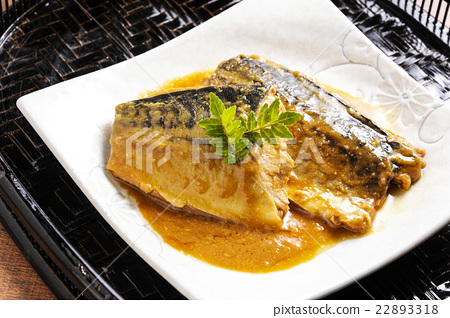 Stock Photo: mackerel, boiled fish, cooked in miso
