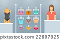 Lingerie shop interior vector flat illustration 22897925