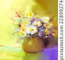 Abstract oil painting of spring flower in vase 22899274