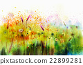 Abstract watercolor painting purple cosmos flower 22899281