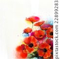Watercolor red poppy flower painting 22899283