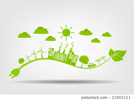 Eco Friendly Concept Green City Save The World Stock