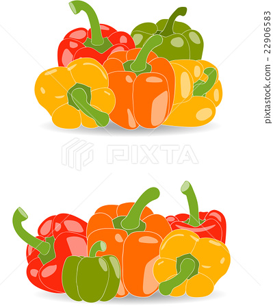 Pepper, set of yellow, red, green and orange 22906583