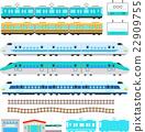 Cute train and Shinkansen illustration set 22909755