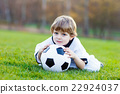 Kid boy playing soccer with football  22924037