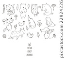 Vector illustration with cute naive forest animals 22924226