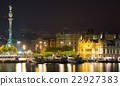 Barcelona Port with Columbus statue in night 22927383