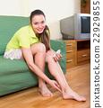 Brunette healing legs with salve 22929855