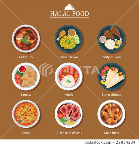 set of halal food flat design 22934234