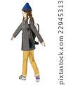時尚針織帽和粗呢外套女孩 22945313