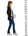 一個女人與商業·時尚筆記本電腦 22945314
