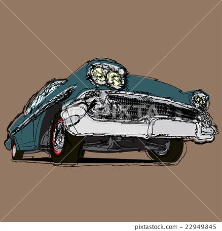 Vintage muscle cars cartoon sketch 22949845