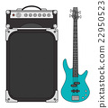 Electric Bass Guitar and Amplifier 22950523