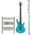 Electric Bass Guitar and Amplifier 22950528