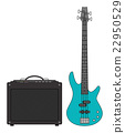 Electric Bass Guitar and Amplifier 22950529
