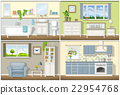 Illustration with four residential interiors 22954768