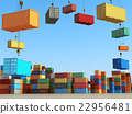 Cargo containers in storage area with forklifts 22956481