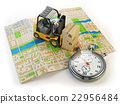 Forklift with cardboard boxes and stopwatch  22956484