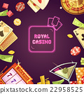 Royal Casino Retro Cartoon Illustration 22958525