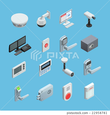 Home security Isometric Icons Set  22958781